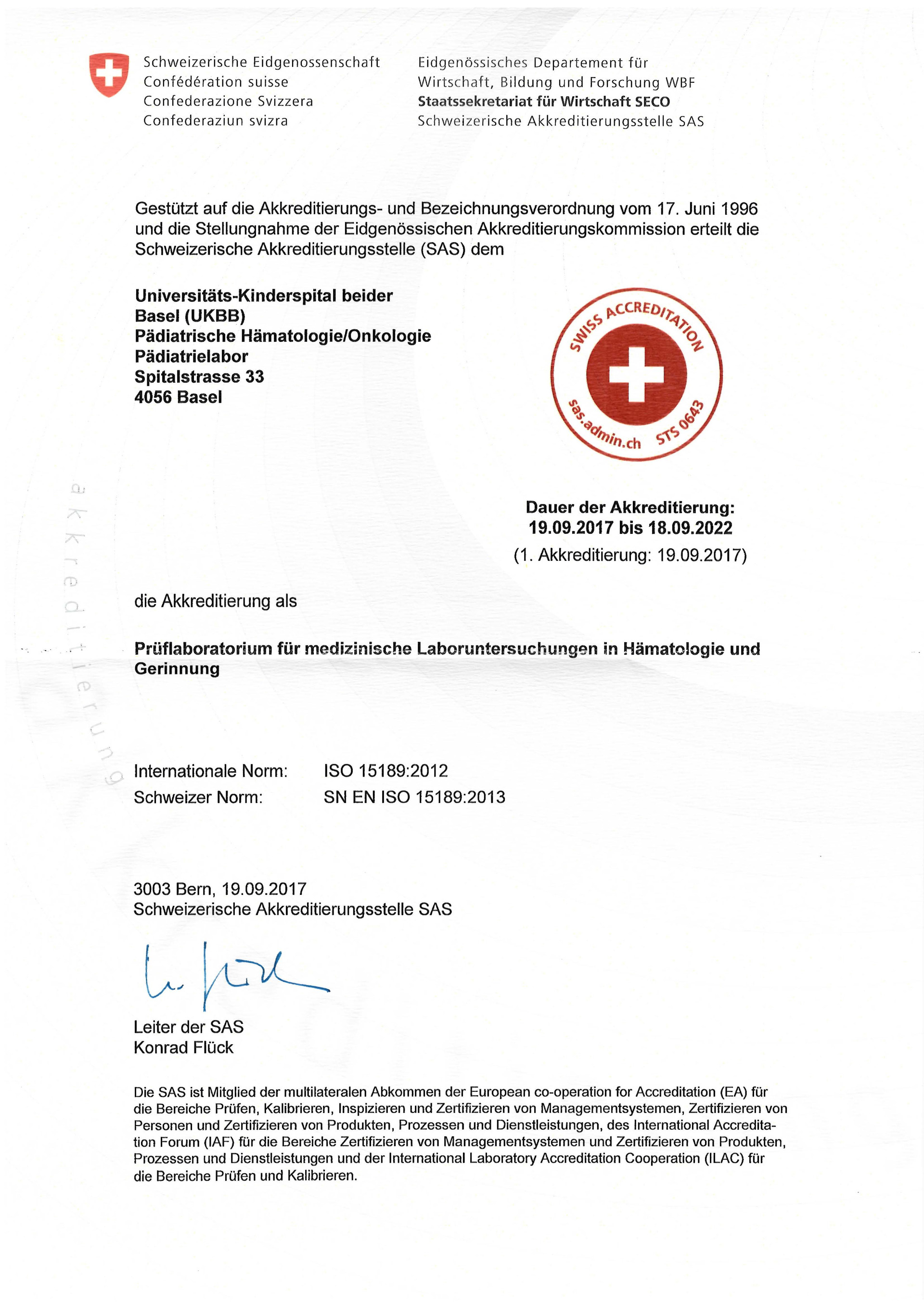 Akkreditierung Pädiatrielabor